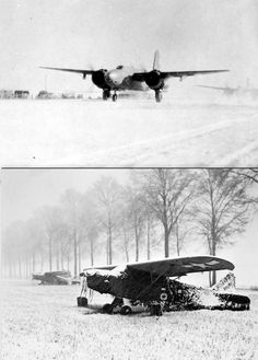 Operating in blinding snow and freezing temperatures Douglas A-20 Havoc bombers of The US 9th Air Force taxi around the perimeter track of their snow-bound airfield towards the cleared runway at the start of a mission against German positions in the Ardennes. An American artillery observation plane under camouflage netting in a snow-bound field near Erezee. The Germans relied on bad weather to keep the Allied air forces grounded and for a short while their hope was fulfilled North Africa, Taxi, Belgium, Plane, Camouflage, Air Force, Fighter Jets, Battle, German