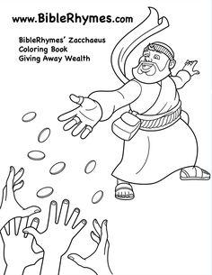 sharing money biblerhymes zacchaeus bible story book coloring page