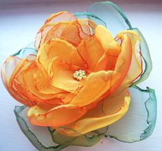Petals-Waterlily-Handmade Organza Flower  by MGMart, $26.00 USD