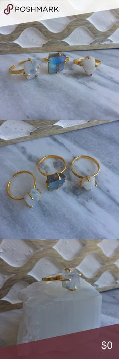 Coming Soon!  Raw Gemstone Rings Raw gemstone rings set in 22k gold plated prong settings. Stones (from left to right) are: rainbow moonstone, labradorite and white druzy stone. Rings are adjustable. Listing is for one ring. Photos courtesy of Simple Sanctuary Simple Sanctuary Jewelry Rings