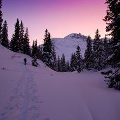 Sunset snowshoe walk near Rauris, Austria. Photo by Hans Bruns from www.deberghut.com