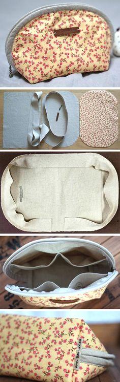 Zipper Half Moon Pouch Tutorial DIY in Pictures.  http://www.handmadiya.com/2015/11/half-moon-pouch.html