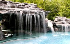 Hot tub is under the waterfall grotto!