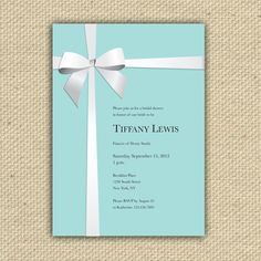 Tiffany Blue Bridal Shower Invitations Inspired By Tiffany Blue