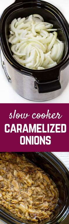 Slow cooker caramelized onions - for those times when you don't want to spend an hour caramelizing them on the stovetop - these cook while you sleep! Get the easy recipe on RachelCooks.com!