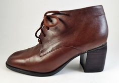 Womens Brown Leather Granny Shoes Chunky Heels Sz 6.5 Etienne Aigner Oxfords #EtienneAigner #FashionAnkle