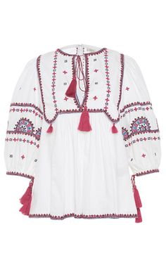 Talitha Pink Embroidered Indian Peasant Top