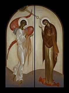"""Annunciation, by George Kordis. Here we see an icon which at first glance might appear to be """"untraditional,"""" but, in fact, is in accord with the """"mannerist"""" example we've shown above. Byzantine Icons, Byzantine Art, Religious Icons, Religious Art, Religious Paintings, Art Icon, Orthodox Icons, Blessed Mother, Sacred Art"""