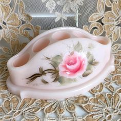 #Vintage Lipstick Holder #Shabby Pink #Roses Vanity by GraciesCottage