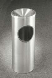 Satin Aluminum 3 Gallon F192SA Funnel Top Ash Trash Receptacle