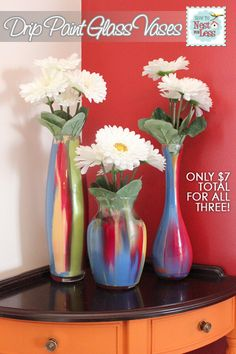 Love this!  how fun. Quick & Easy Painted Glass Vases for $7!