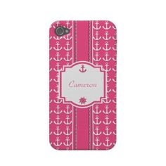 Pink Nautical Anchor iPhone 4S Case-mate Case Iphone 4 Covers by tjssportsmania