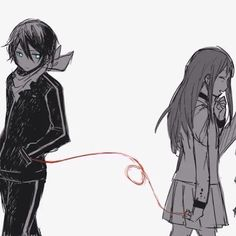 """Noragami - Hiyori and Yato. """"A red string of fate connect all lovers and friends across the vast expanse of time and mortality. Sakura Anime, Manga Anime, Anime Art, Anime Demon, Manga Girl, Anime Girls, Noragami Hiyori And Yato, Yatogami Noragami, Awesome Anime"""