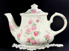 Sadler Basket Weave Teapot, Vintage Porcelain Tea Pot, Made in England