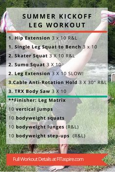 This leg workout is one of the workouts from last month's online personal training program. This workout targets your glutes and quads, with just a few core movements at the end. I typically include a few core movements in my workouts throughout the week, as opposed to a dedicated core workout. You also want to keep your core engaged through the entire workout to lift safely and build additional core strength.