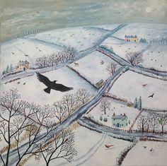 **As the Crow Flies - acrylic on a 50 x 50cm box canvas.  Jo Grundy.