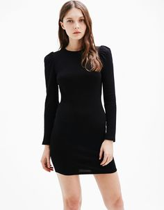 Short fitted dress with puffy sleeves. Discover this and many more items in Bershka with new products every week