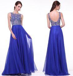 Elegant Royal Blue Long Beaded Cap Sleeves Backless Prom Dresses,Beading prom dress