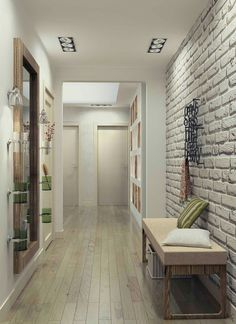 Use of loft style in the interior - Decor Around The World Style At Home, Loft Stil, Flur Design, Brick Interior, Style Loft, White Brick Walls, Hallway Designs, House Entrance, Patio Doors
