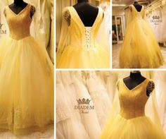 """Our Majestic, elegant, crystal and lace embroidered gold gown fit for a gorgeous queen! Ball gowns, A line gowns, mermaid gowns, empire waist gowns, ruffled gowns, colour gowns, so many patterns to choose from!! Available in all sizes too  !!                                                                                               We have professional designers full time in our store to help you find the perfect gown of your dreams !"