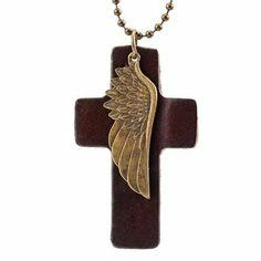 R&B Joyas - Collar unisex para hombre y mujer estilo espiritual, cadena bolas con colgante cruz y ala de ángel, cuero y metal, color marrón / oro: Amazon.es: Joyería