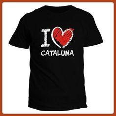 Idakoos I love Cataluna chalk style - Cities - T-Shirt - Cities countries flags shirts (*Partner-Link)