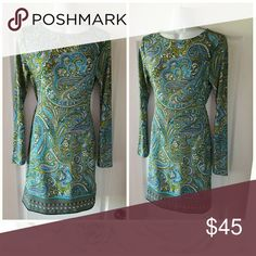 MICHAEL KORS Beautiful paisley pattern w/ban at hem, worn once, long sleeve pull on, no zippers or buttons,  pristine condition NWOT !! Michael Kors Dresses Midi
