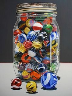 My Dad used to always tell me about this big jar of beautifully colored marbles he had, but he could never find where he had put them.   This is what I imagine they looked like!