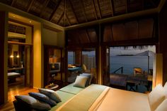 Amazing resort hotel room somewhere in the South Pacific.