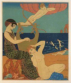 """""""Les Chansons de Bilitis"""", 1922  Georges Barbier (1882 - 1932)"""