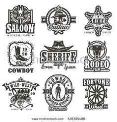 Set of vector wild west logos, badges with cowboy and attributes of the wild west isolated on white. Logos Vintage, Logos Retro, Retro Vector, Retro Vintage, Western Logo, Western Cowboy, Icon Set, Logos Color, Logos Photography
