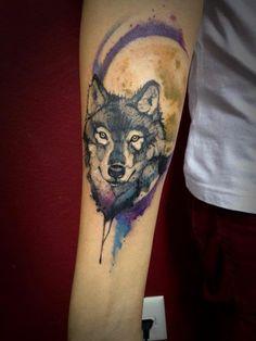 Watercolour Wolf Tattoo.