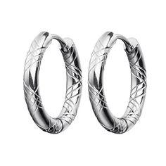 54056e7fbc MELUOGE Stainless Stee pattern Small Round Tube Huggie Hoop Earrings