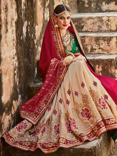 Beautiful traditional panetar saree with a combination of red, beige and green portrays a unique style. A red silk pallu is a perfect blend of cutwork embroidery and jacquard Gadhcola; a beige skirt is highlighted with gold Pitta and thread work. A contrasting green embroidered blouse perfectly completes the look.  Product Code: SA-56 Colour: Red Fabric: Silk and Panetar Occasion: Wedding Blouse - Unstitched - Silk as shown in Pic