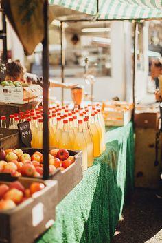 I love a farmers market with apple juice!