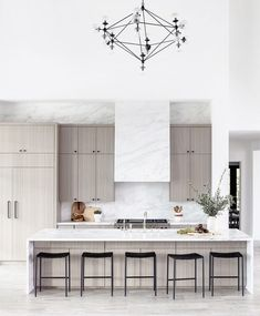8 ft kitchen island with waterfall edges Waterfall Kitchen Island, Marble Island Kitchen, Modern Kitchen Island, Kitchen White, Modern Kitchen Design, Home Decor Kitchen, Kitchen Interior, Home Kitchens, Kitchen Dining