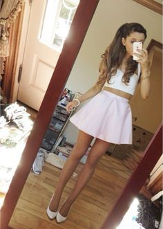 Ariana Grande sooo beautiful she's so working this pastel purple skater skirt and cropped bralet gorgeous<33