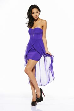 Purple Chiffon Strapless Bodycon Dress with High Low Hemline