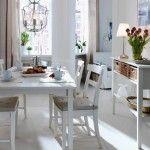 beyaz yemek odasi tasarimi beyaz masa sandalye modern klasik eskitme dekorasyon fikirleri (10)