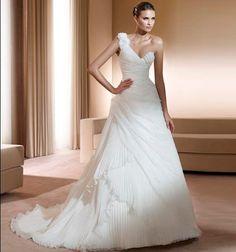 Exquisite One Shoulder Chiffon Bridal Wedding Dresses