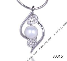 31x16mm 925 Sterling Silver Pearl Dangle Necklace Pendant with Crystal