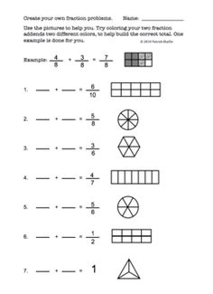 Here is a free worksheet on adding fractions. Kids choose their own fractions to add and color based on the blank pictures provided.Also, feel . Addition Of Fractions, Adding Fractions, Adding And Subtracting Fractions, Math Practice Worksheets, Math Resources, Math Activities, Math Skills, Math Lessons, Fourth Grade Math