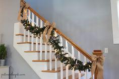 Staircase garland and burlap bows