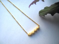 Diamond Cut 24 Kt Gold Bead Pendant Necklace by HomeGrownIllinois, $40.00