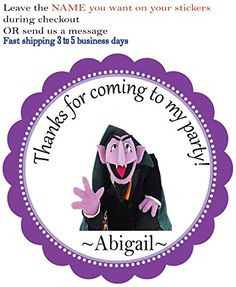 A Count Von Count - Sesame Street Theme Favor Gift Tags Stickers -12 Personalized Birthday Party Favor Stickers- Custom Labels Treat Favor Round Tags BeautyAndBrainsGirls http://www.amazon.com/dp/B0148WXW5K/ref=cm_sw_r_pi_dp_-q01vb0W9FSFY