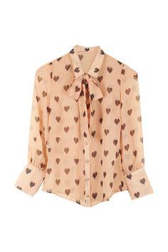 Heart Print Bowknot Apricot Shir #Romwe t