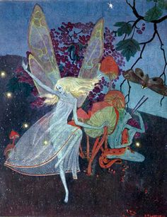 Mysterious Ethereal Elfin FAIRY Dances! Vintage Fairy Illustration. Fairy DIGITAL Download. Vintage Fairy Digital PRINT