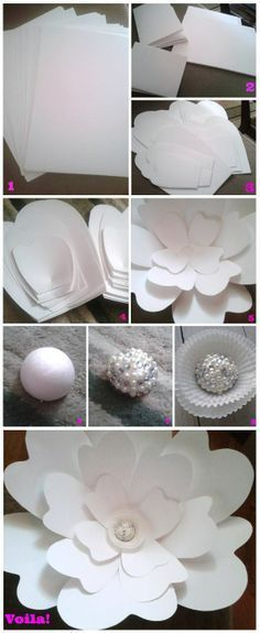 Step by step instructions to make your own large paper flower via Dream Events in Paper