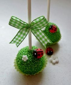 Little Ladybug Birthday -- Ladybug Cake Pops -- By: My Love for Macarons, Cupcakes, and Cakes Ladybug Cake Pops, Ladybug Party, Ladybug Birthday Cakes, Ladybug Cakes, Owl Cakes, Frozen Birthday, 2nd Birthday, Mini Cakes, Cupcake Cakes