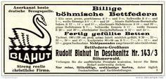 Original-Werbung / Anzeige 1928 - BÖHMISCHE BETTFEDERN / RUDOLF BLAHUT - DESCHENITZ (BÖHMERWALD)- ca. 120 x 55 mm